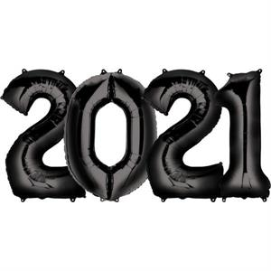 Number 2021 Balloons Black