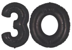 Large Black Number 30 Balloons for Helium