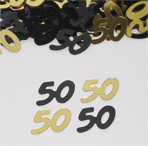 Black and Gold Number 50 Confetti