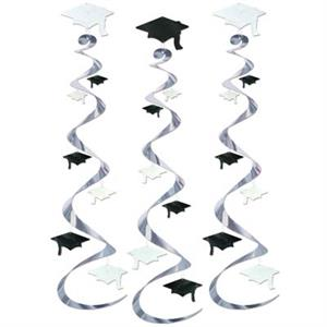 Graduation Hanging Decorations Silver, Black and White