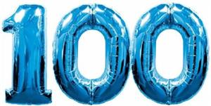 Large Blue Number 100 Balloons will float with helium