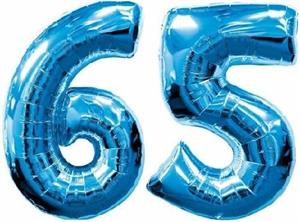 Large Blue Number 65 Balloons will Float with Helium