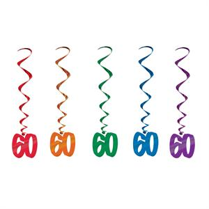 "Bright Metallic 60 Danglers (5 Pack) Red, Green, Blue, Purple and Orange 40"" inch long danglers with a 60 at the end hang from ceiling, doorway and light fixtures Decorate your patio with 60 danglers All Metallic 60th Birthday Party Hanging Decoration"