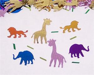 Confetti shaped like jungle animals