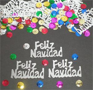 Feliz Navidad Confetti Silver with Sparkles Multi Color