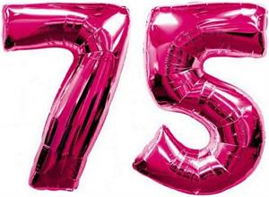 Large Number 75 Balloons Fuchsia