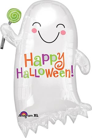 "Ghost Balloon 24"" high Halloween Foil Balloon Ships Uninflated"
