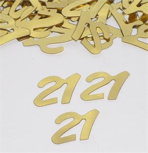 Gold Number 21 Confetti