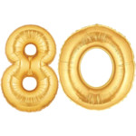 Large Gold Number 80 Balloon