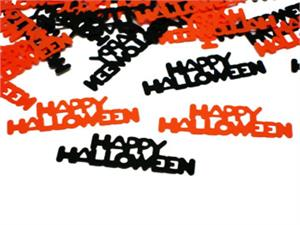 Happy Halloween Confetti Words Orange and Black