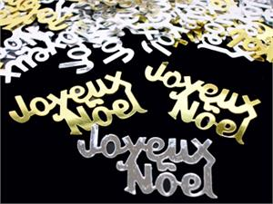 Joyeux  Noel Confetti Gold and Silver French Merry Christmas