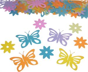 Butterfly and Flowers Confetti Pastel