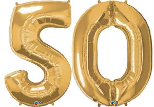Large Gold Number 50 Mylar Balloon Refillable