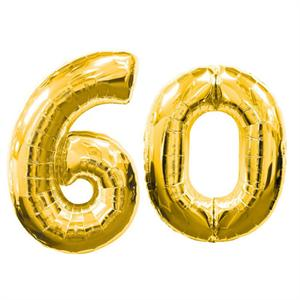 Large Gold Number 60 Balloon, Elegant Gold 60th Birthday Decoration