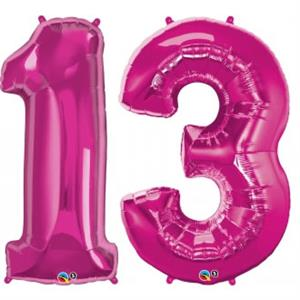 Magenta Large Number 13 Balloon Helium Quality
