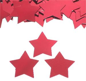 Large Red Star Confetti Shiny Metallic