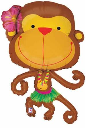 Hula Girl Monkey Balloon weazring a grass skirt