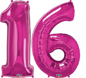 Large Pink Number 16 Balloons will Float with Helium