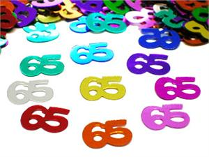 Metallic Number 65 Confetti Multi Color