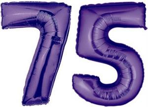 Large Number 75 Balloons Purple