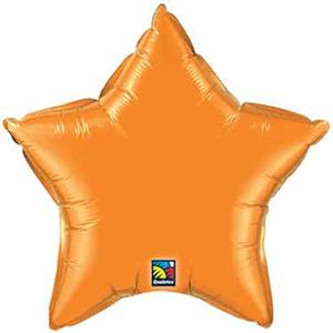 Orange Star Shaped Mylar Balloons