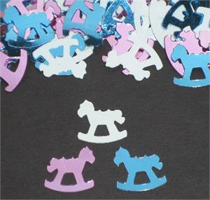 Pink, Sky Blue, and White Rocking Horse Confetti