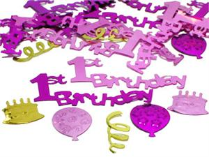 Pink First Birthday Confetti