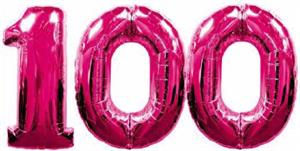 Large Number 100 Balloon Bright Pink for Helium