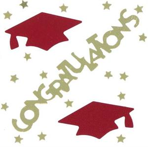 Gold and Red Graduation Confetti