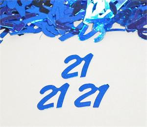Blue Number 21 Confetti