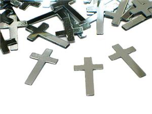 Silver Christian Cross Shaped confetti