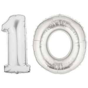 Silver-Number-10-Balloon-Large