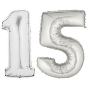 Large Silver Number 15 Balloons Quincenera Decoration