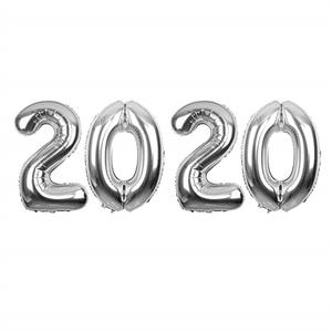 Silver 2020 Balloons Large