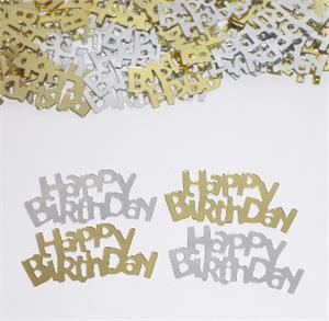 Happy Birthday Confetti Silver and Gold