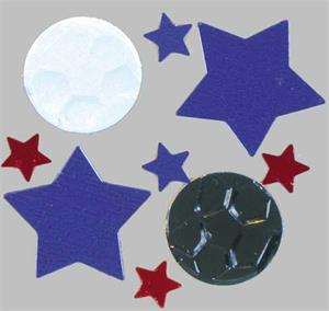 Soccer Confetti with Red and Blue Stars