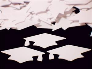 Graduation Confetti Shaped like White Mortarboard Caps