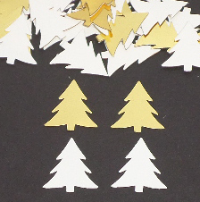 White and Gold Christmas Tree Confetti
