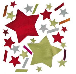 Fire Star Confetti-Gold-Red-Stars-Silver Accents