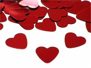 Red Metallic Heart Shaped Confetti