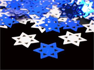 Blue Star of David Confetti and White Star of David Confetti