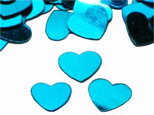 "Blue Heart Confetti,1/4"" Sky Blue Metallic Heart Confetti"