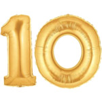 Gold Number 10 Balloons, 40