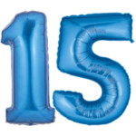 birthday number 15 blue
