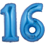 Large Blue #16 Myar Balloons, Blue Number 16 Balloons, 34