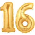 Gold Number 16 Balloons, 40