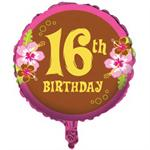 16th Birthday Chocolate Brown and Pink Balloon