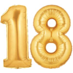 Large Gold Number 18 Balloon