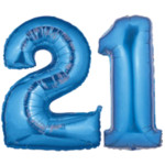Large Blue Number 21 Balloon