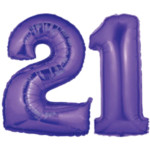 Large Purple Number 21 Balloon